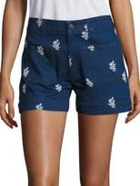 Stella McCartney High-Waist Embroidered Denim Shorts