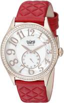 Burgi Women's BUR141RD Round Dial with Embossed Swirled Center Small Seconds Quartz Strap Watch