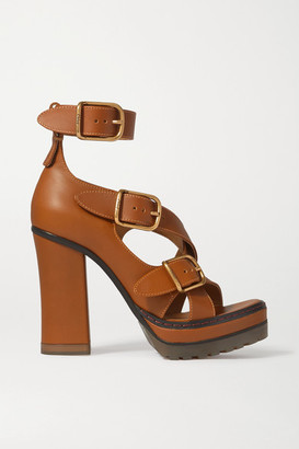 Chloé Leather Platform Sandals - Tan