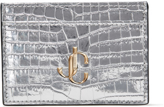 Jimmy Choo UMIKA Silver Metallic Croc-Embossed Leather Card Holder