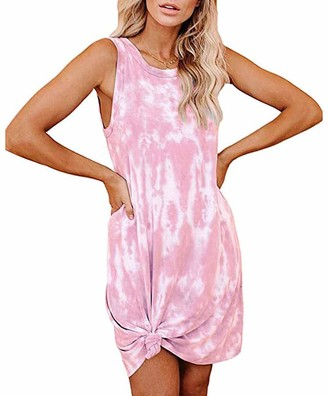 Furpazven Womens Tank Tops Tie Dye Dresses Sleeveless Casual Summer Loose Comfy Mini Dress Clothes Pink M