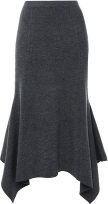 Sandro Flared Asymmetric Ribbed-knit Midi Skirt