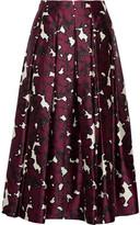 Oscar de la Renta Floral-print Pleated Silk-satin Skirt - Claret