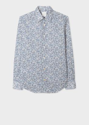 Paul Smith Men's Slim-Fit White 'Floral' Print Cotton Shirt