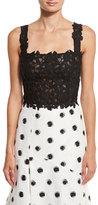 Monique Lhuillier Sleeveless Lace Crop Top, Black