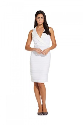 Adrianna Papell Pintucked Tuxedo Dress In Ivory