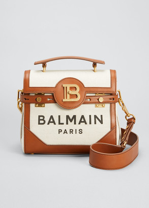 Balmain BBuzz 23 Logo Canvas & Leather Shoulder Bag