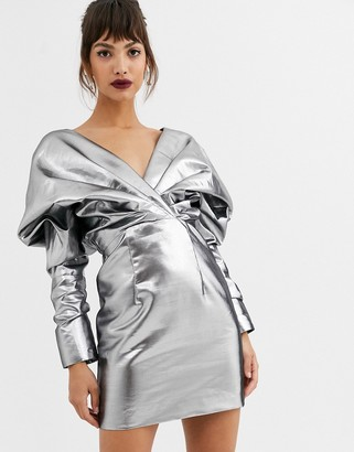 ASOS EDITION extreme shoulder metallic cocktail dress