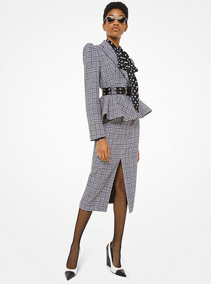 Michael Kors Glen Plaid Wool Peplum Jacket