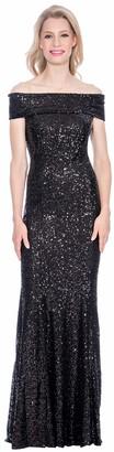 Cachet Women's Off Shoulder Sequin Gown