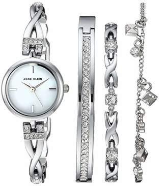 Anne Klein Women's Swarovski Crystal Accented -Tone Watch and Bracelet Set