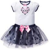 David TuteraTM 2-Piece Daisy Toss Bodysuit and Skirt Set in Navy/White