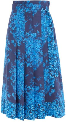 Valentino Pleated Delft-print Silk-crepe Midi Skirt - Navy