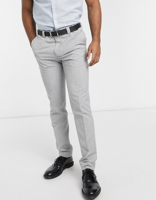 Viggo recycled polyester slim fit suit trousers in light grey with pinstripe