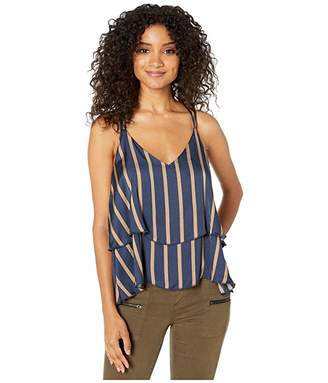 Chaser Silky Basics Strappy Knot Back Tiered Cami (Stripe) Women's Clothing