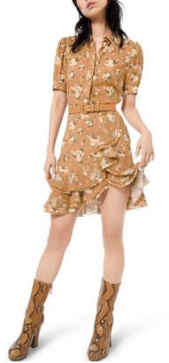 Michael Kors Short-Sleeve Ruffled Floral-Silk Shirtdress w/ Belt