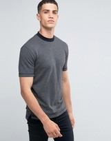ONLY & SONS Crew Neck T-shirt with Raw Hems in Herringbone