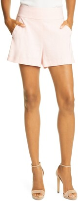 Alice + Olivia Donald High Waist Linen Blend Shorts