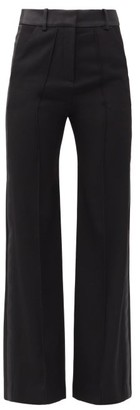 Paco Rabanne Satin-trimmed Wool Straight-leg Trousers - Black