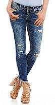 Silver Jeans Co. Suki Destructed Frayed Hem Stretch Denim Ankle Skinny Jeans