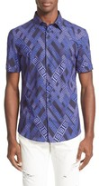 Versace Men's Trim Fit Allover Greek Key Print Shirt
