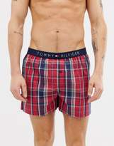 Tommy Hilfiger Cotton Woven Boxer With Flag Logo Waistband in Red Check