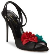 Oscar de la Renta Olive Mesh & Leather Sandals