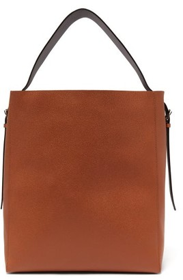 Valextra Adjustable-strap Grained-leather Tote Bag - Tan