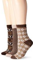 Muk Luks Women's 3 Pair Pack Holiday Boot Socks
