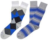 Etiquette Clothiers Tokyo Stripes and Harlequin Mercerized Socks (2 PK)