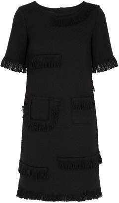 Moschino Black Fringed Tweed Mini Dress
