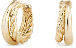 David Yurman 25.5mm Pure Form 18K Gold Hoop Earrings