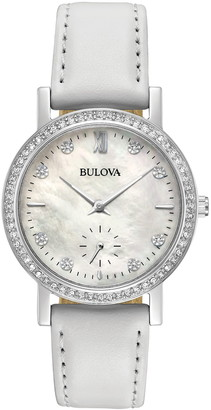 Bulova Women's Swarovski Crystal Accented Mother of Pearl Leather Strap Watch, 32mm