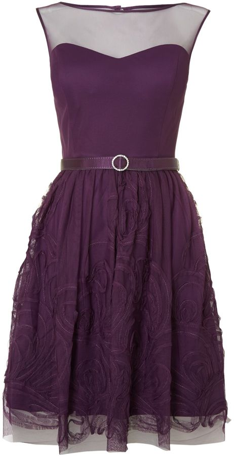 Eliza J Mesh ribbon skirt belted fit & flare dress