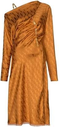 Versace off-shoulder chain strap midi dress