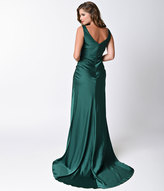 Unique Vintage Preorder 1930s Emerald Green Satin Ellington Deco Bias Cut Gown
