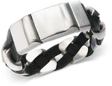 Thumbnail for your product : Sutton by Rhona Sutton Stainless Steel and Black Leather Chain Bracelet