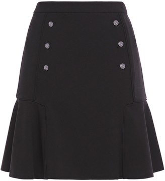 DKNY Flared Button-embellished Crepe Mini Skirt