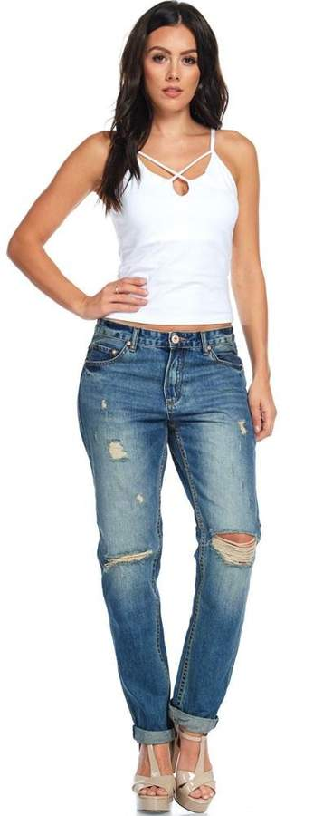 TwiinSisters Women's Low Rise Stretchy Distressed Girlfriend Jeans