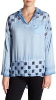 Luma Checkered Burnout Long Sleeve Blouse