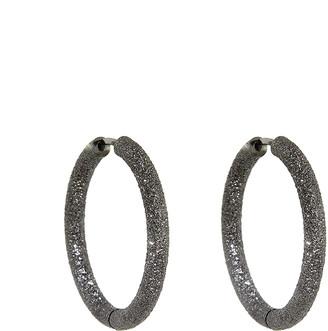 Carolina Bucci Small Florentine Finish Thick Round Hoop Earrings - Black Gold