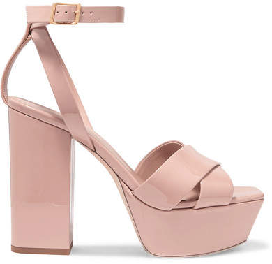 Saint Laurent Farrah Patent-leather Platform Sandals - Neutral