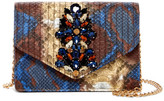 Sondra Roberts Jeweled Faux Python Crossbody Clutch