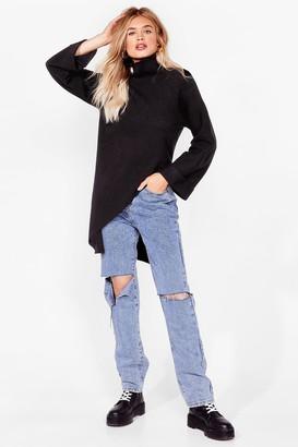 Nasty Gal Womens Cutting Edge Knitted Asymmetric Sweater - Black