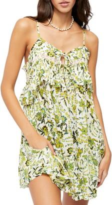 Free People Take Me With You Ruffle Floral Print Mini Dress