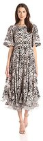 Rebecca Taylor Women's Short Sleeve Print Mix Dress