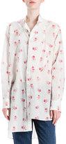 Loewe Long Asymmetric Floral-Print Blouse, White