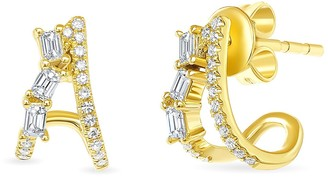 Ron Hami 14K Yellow Gold Diamond Split Stud Earrings - 0.24 ctw