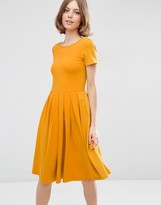 Asos Midi Pleated Skater Dress with Scoop Back