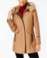 Trina Turk Coyote-Fur-Trim Coat